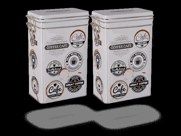 """Teedosen, Kaffeedosen """"Barista"""" eckig 1,5l Aromaverschluss, 2 Stk"""