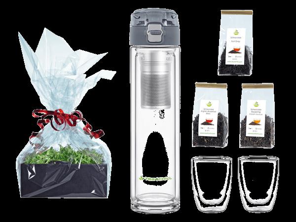 Tee Geschenk doppelwandige Teeflasche anthrazit 400ml mit 2 Teecups