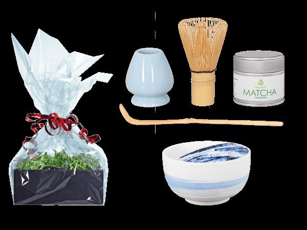 Tee Geschenk Matchaset, original Japan, weiß/blau