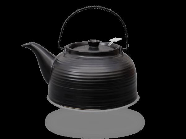Teekanne Nelly 1,5 Liter Keramik schwarz-schwarz Edelstahlsieb