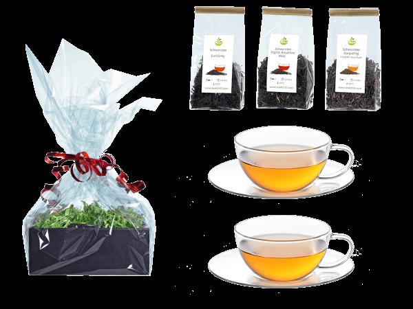 Tee Geschenk 2 Teetassen Glas