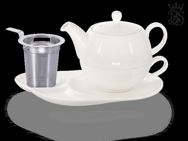Tea for one, Lena 500 ml, Crystal Bone China, weiß, Komfortteller, Sieb