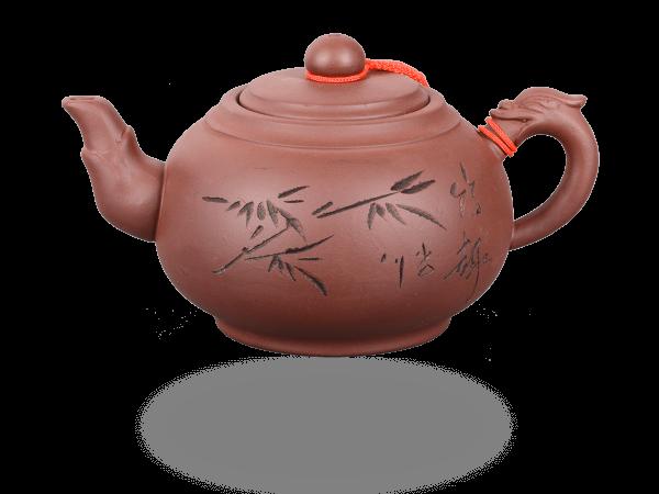 Chinesische Teekanne Ton 500ml, Drachenhenkel hell