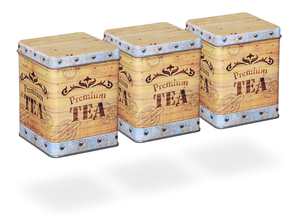 "Teedose vintage ""Tea Chest"" eckig 100g, Klappdeckel, 3 Stk"