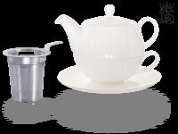 Tea for one, Lena 500 ml, Crystal Bone China, weiß, Sieb