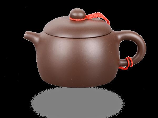 Chinesische Teekanne Ton hoch 200ml glatt dunkel