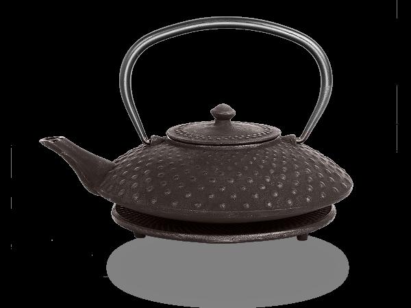 Teekanne Gusseisen Aneko schwarz mit Sieb