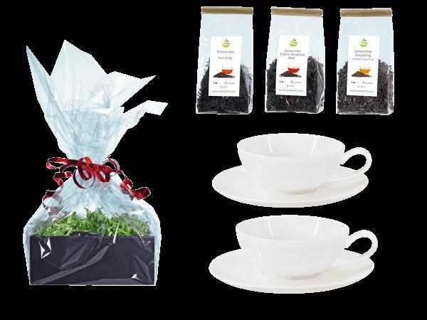 Tee Geschenk 2 Teetassen Porzellan mit Rundteller