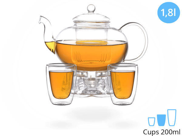 Teeservice Melina: Glaskanne 1,8 Liter + 2 Glasbecher 200ml + Glas-Stövchen