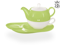 Tea for one, Lena 500 ml, Crystal Bone China, grün, Ablageteller