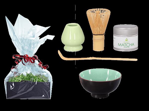 Tee Geschenk Matchaset, moosgrün