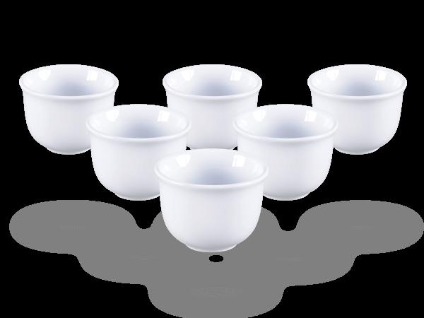 Teecups Nelly 120ml. Teebecher-Set Keramik weiß 6 Stück