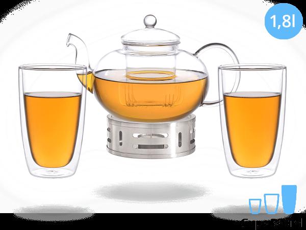 Teeservice Melina: Glaskanne 1,8 Liter + 2 Glasbecher 380ml + Edelstahl-Stövchen