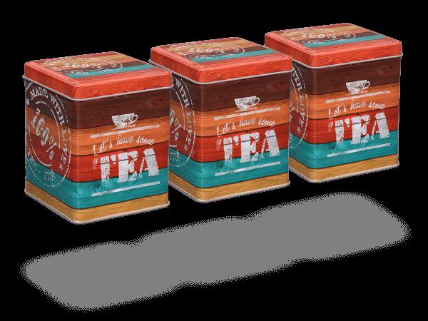 """Teedose """"Vintage Tea"""" eckig 100g, 3 Stk"""