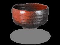 Matcha Schale handgefertigt schwarz-rot 500ml, original Japan