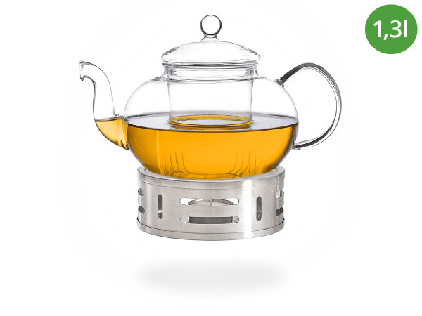 Teeservice Melina: Glaskanne 1,3 Liter + Edelstahl-Stövchen