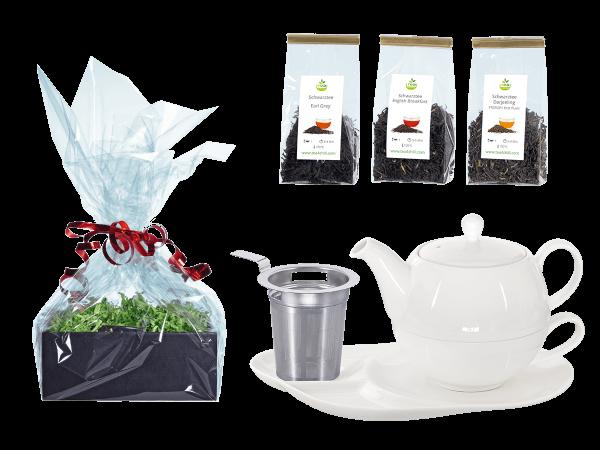 Tee Geschenk Tea for One Lena weiß mit Sieb und Komfortteller