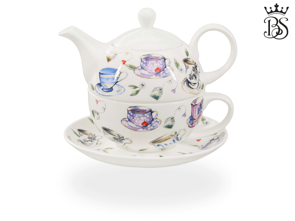 Tea for one, 400 ml, Fine Bone China, Tassendekor