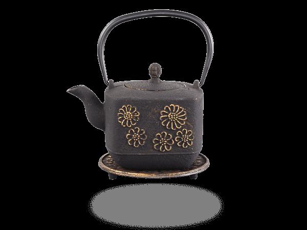 Teekanne Gusseisen Hiko 0,8l schwarz-gold mit Sieb