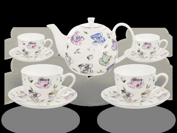 Buchensee Fine Bone China Kaffeeservice: Kaffeekanne 1,5 Liter + 4 Kaffeetassen + 4 Unterteller