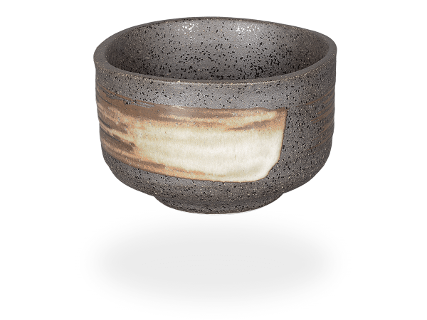 Matcha Schale handbemalt anthrazit/beige 390ml, original Japan