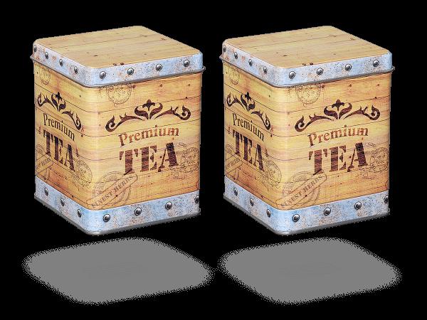 """Teedose vintage """"Tea Chest"""" eckig, 2 Stk"""