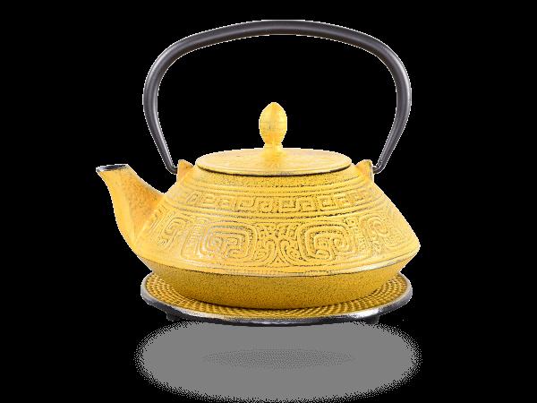 Teekanne Gusseisen Akira 1,2l sandgelb mit Sieb
