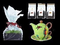 Tee Geschenk Tea for One, handbemalt, grasgrün