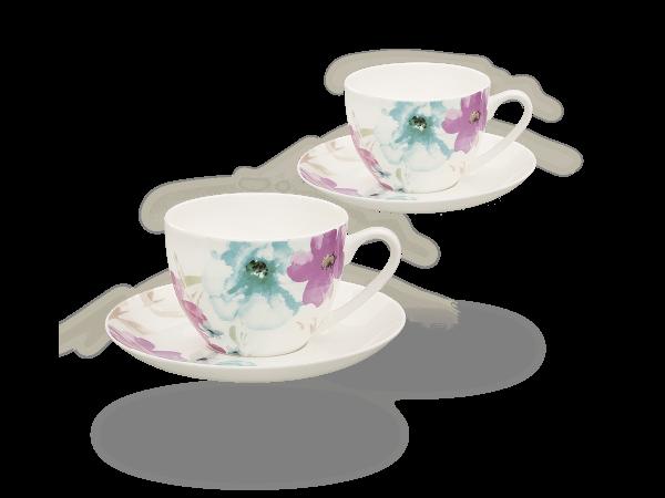 Buchensee Kaffeetassen Blumendeko, Fine Bone China Porzellan