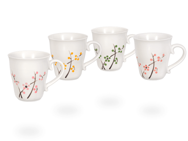 Japanische Teetassen weiß, Kirschblütendesign, 220 ml