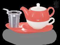 Tea for one, Lena 500 ml, Crystal Bone China, coralrot, Ablageteller, Sieb