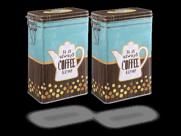 "Teedosen, Kaffeedosen ""Coffee Time"" eckig 1,5l Aromaverschluss, 2 Stk"