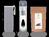 drink4chill – Teeflasche mit Sieb to go, Glas, anthrazit mit Premium Tee