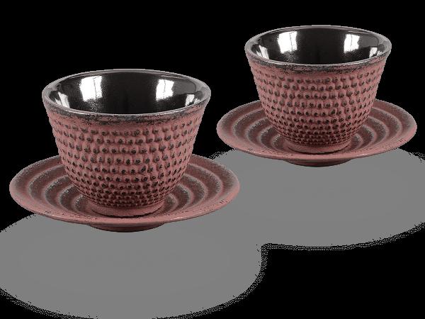 2 Gusseisen-Teecups Arare je 100ml und 2 Gusseisen-Untersetzer rund in antikrot