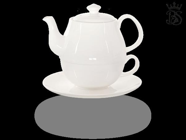 Tea for one, Daisy 600 ml, Crystal Bone China Porzellan, weiß
