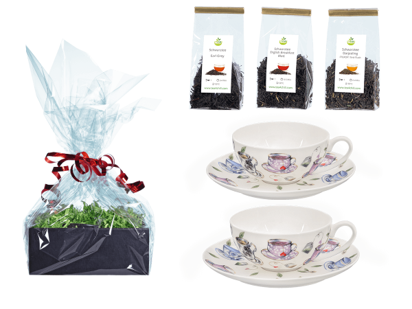 Tee Geschenk Teetassen, Fine Bone China, Tassendeko