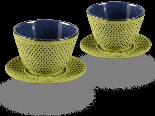 2 Gusseisen-Teecups Arare je 120ml und 2 Gusseisen-Untersetzer rund in moosgrün