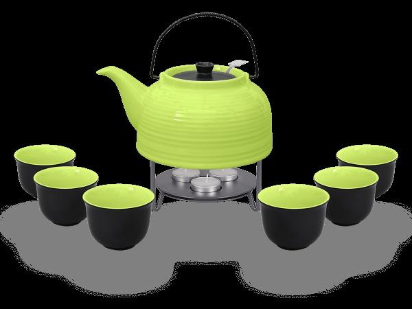 Nelly Teeservice Keramik 1,5l grün schwarz mit Stövchen